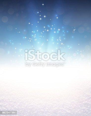 istock Festive light explosion on snow 862347380