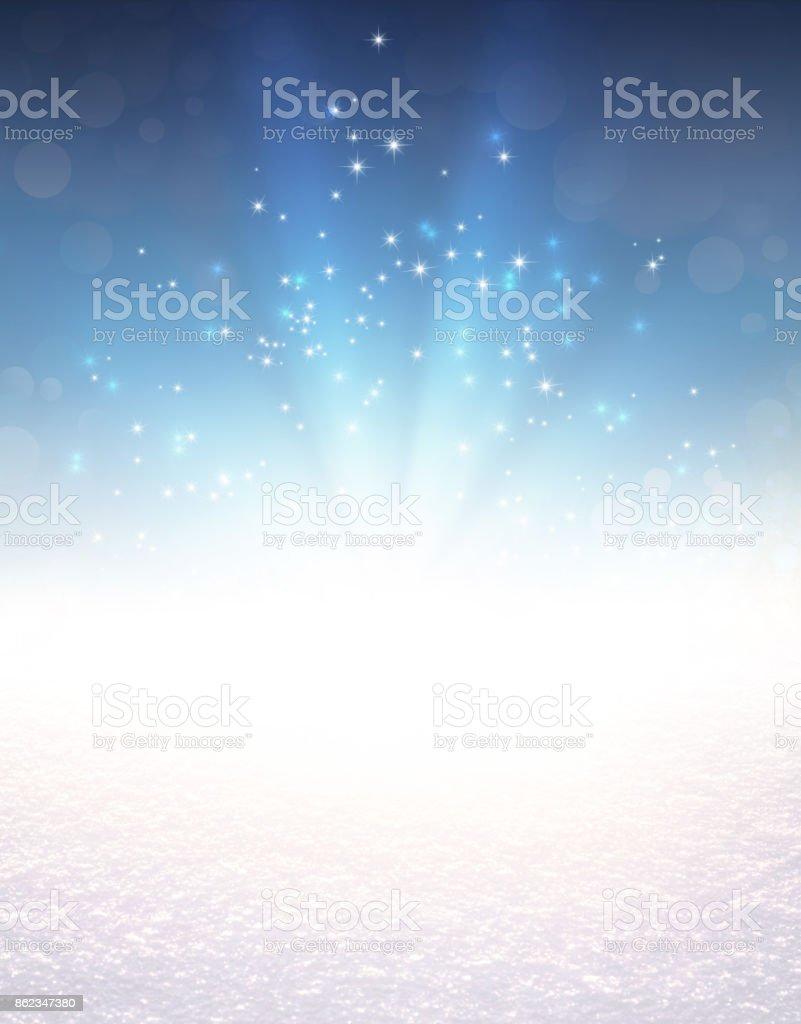 Festive light explosion on snow stock photo