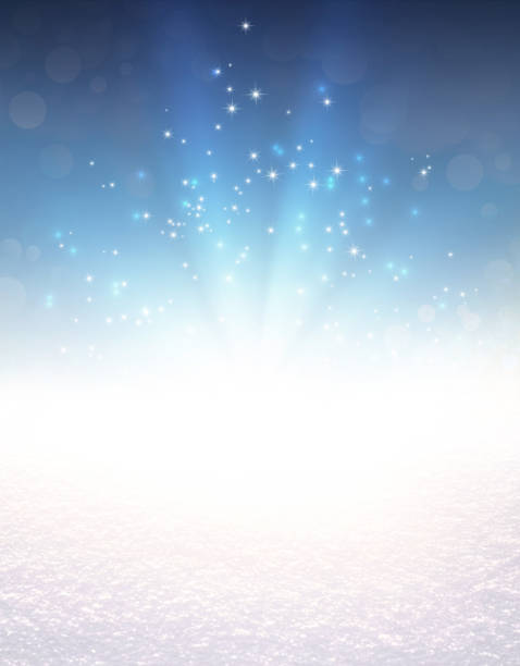 festive light explosion on snow - ethereal stock pictures, royalty-free photos & images