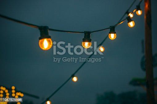 Festive lights decorated at Christmas fair winter wonderland in London