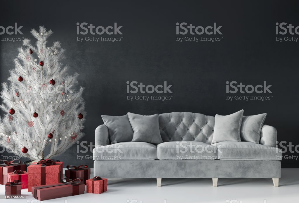 Festive living room with a luxurious sofa and a white Christmas tree with red gifts Gray living room interior with a luxurious sofa, white Christmas tree and red gifts. New Year's interior. Christmas interior / 3D illustration, 3d render Christmas Stock Photo