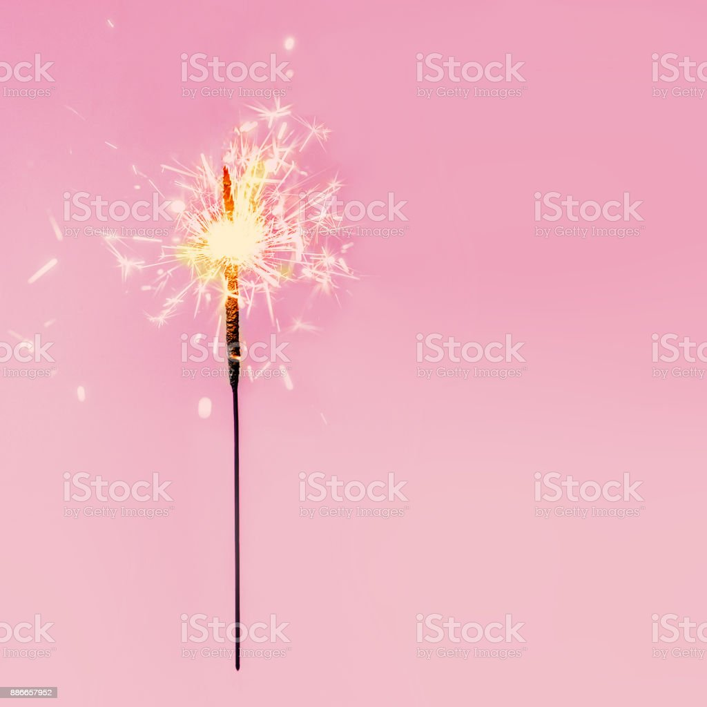 Festive Merry Christmas sparklers. Golden Magic  Sparkling beautiful card, sparkles or  bengal lights stock photo