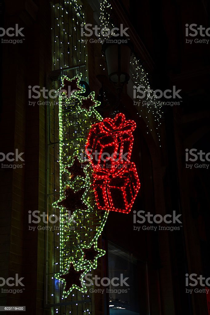 Festive neon sign lit at night. New Year stock photo