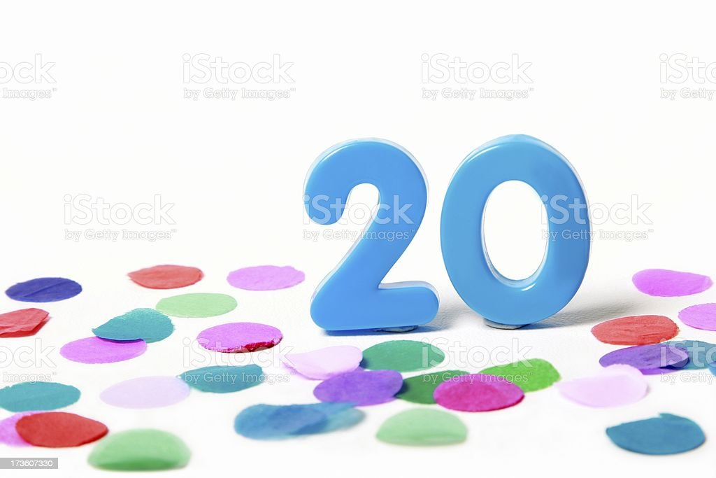 Festive Number Twenty 20 with Confetti stock photo