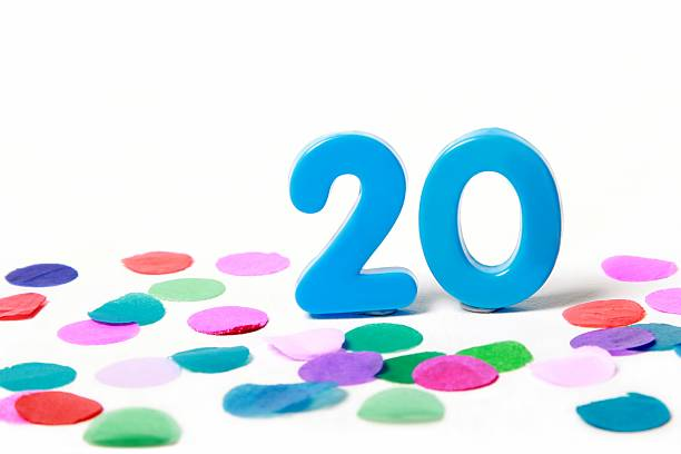 festive number twenty 20 with confetti - number 20 stock photos and pictures