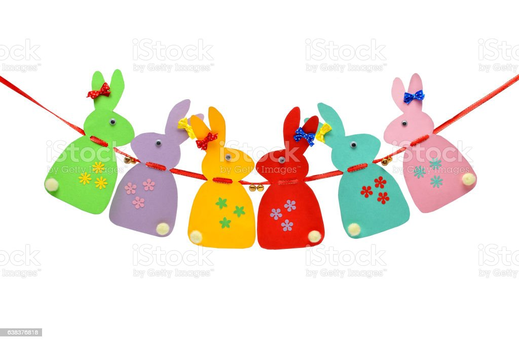 Festive, paper rabbits isolated on a white background. stock photo