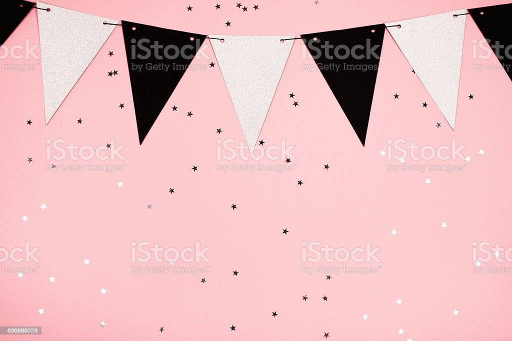 Festive pink background, flat lay stock photo