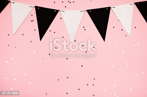 istock Festive pink background, flat lay 871572834