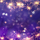 Festive Purple background with sparkles light. Holiday concept. Beautiful Square background with copy space for text. Holiday template Web banner or flyer for party, birthday, christmas and new yeart