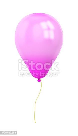 815229514 istock photo festive purple balloon isolated on white 506785264