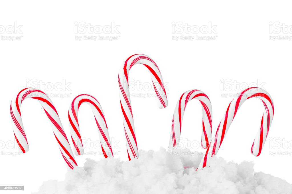 Festive Red and White Peppermint Candy Canes stock photo