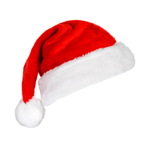 a festive red and white santa hat on a white background - santa hat stock pictures, royalty-free photos & images