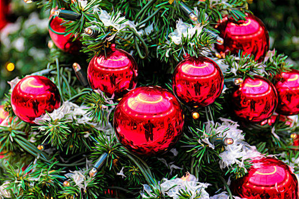 festive red christmas baubles on christmas tree with lights - whiteway stock photos and pictures