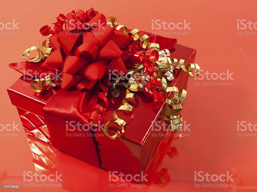 Festive Red Gift box royalty-free stock photo
