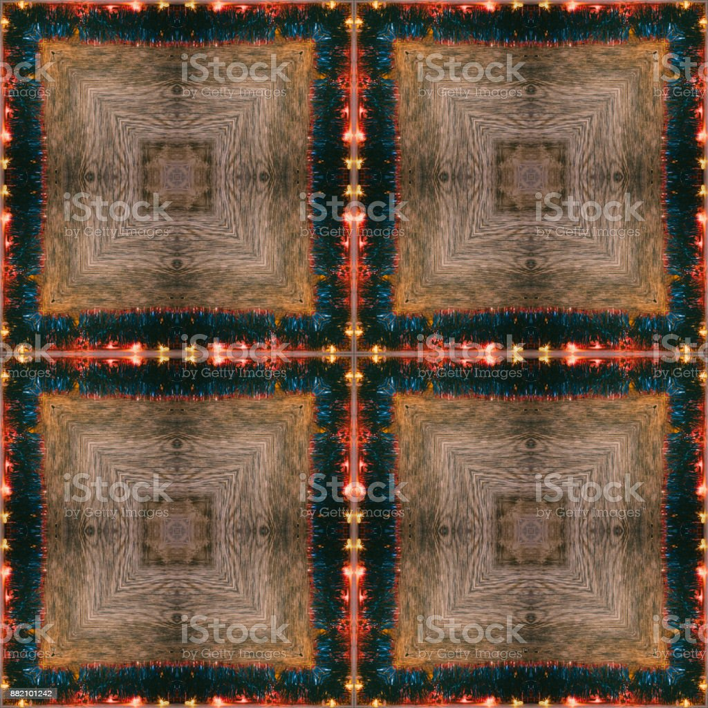festive seamless pattern Christmas lights and tinsel on wooden background stock photo