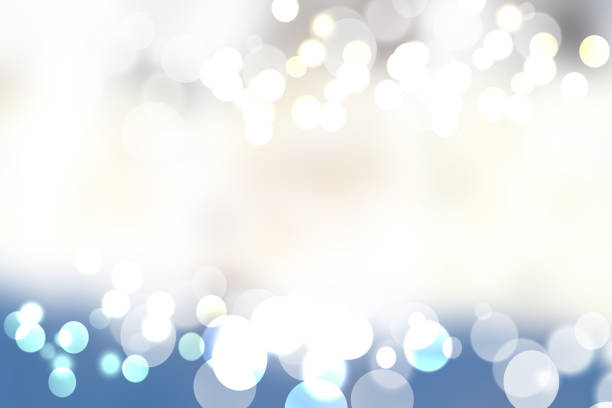 festive  silver blue bright abstract bokeh with colorful circles. template for your product display montage. beautiful texture. - anniversario foto e immagini stock
