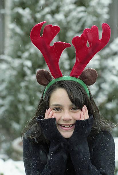 Festive Snowfall Celebrating Christmas stock photo