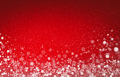 White snow shapes and soft lights on a red background