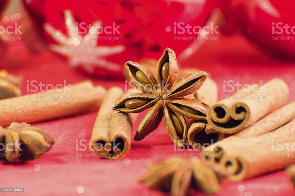 Festive spices and decorations stock photo
