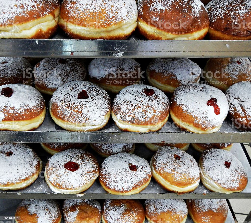 Festive sweet donuts with jam stock photo