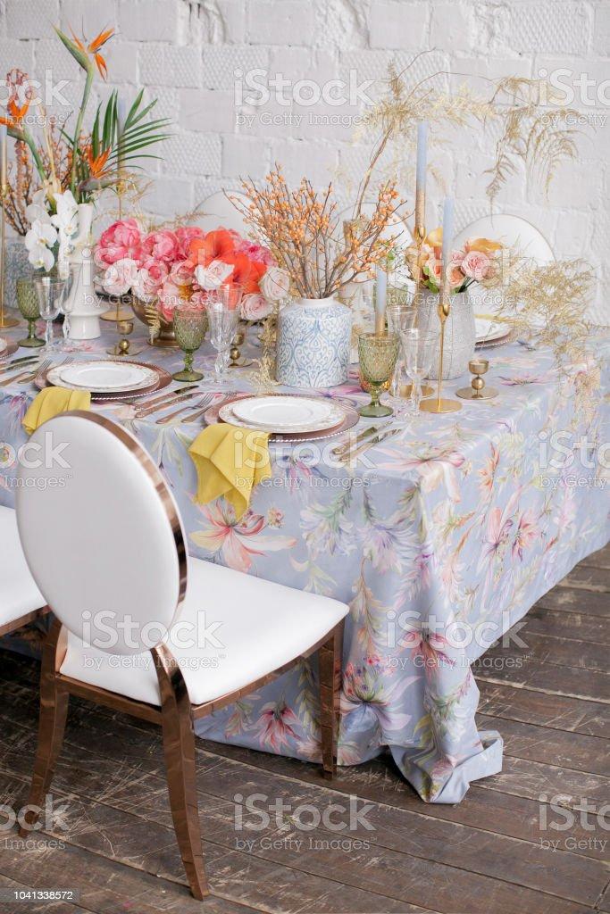 Festive table decor. Many pastel colors. Luxury wedding, party,...