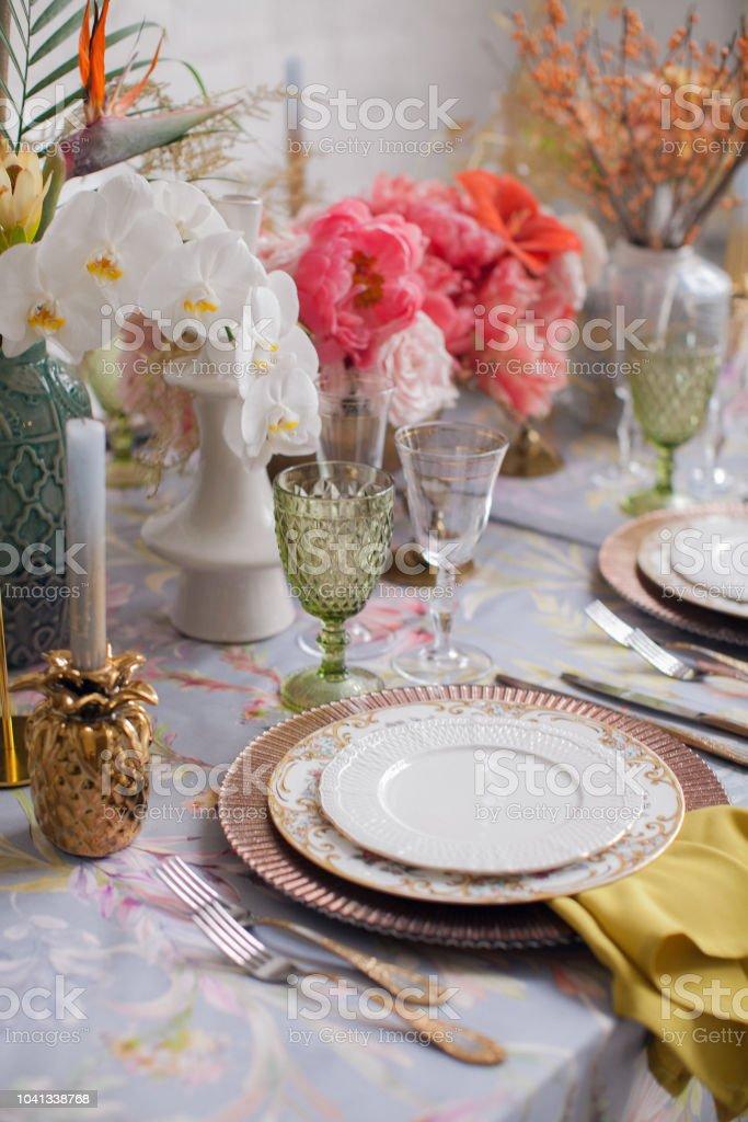 Festliche Tischdekoration Viele Pastellfarben Luxushochzeit Party