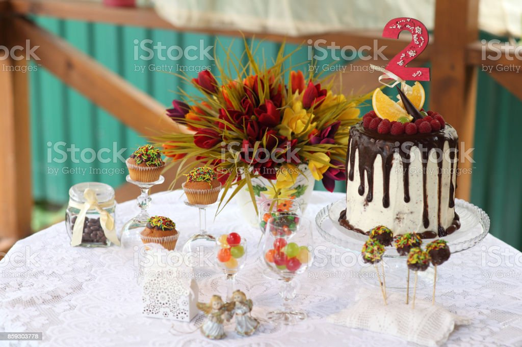 Birthday party for children. A festive table decorated with birthday...