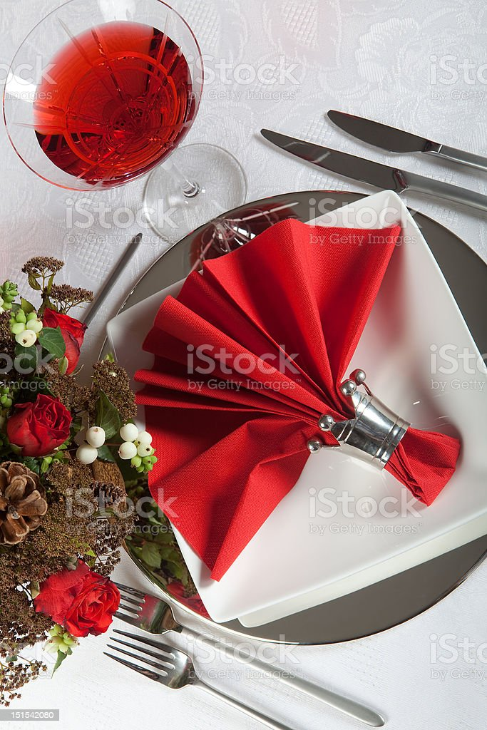 Festive table in red and white 6 royalty-free stock photo