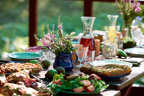 festive table - garden party stock photos and pictures