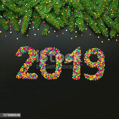 1049836902 istock photo Festive template for Greeting card Happy New Year 2019 1078986538