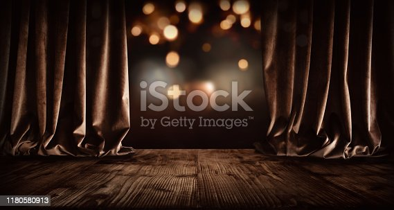 Festive theater stage with golden bokeh for a christmas background