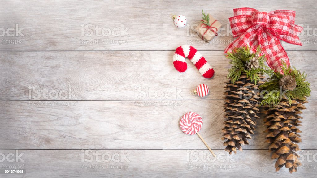 Festive Winter Holiday Decor with Copy Space stock photo