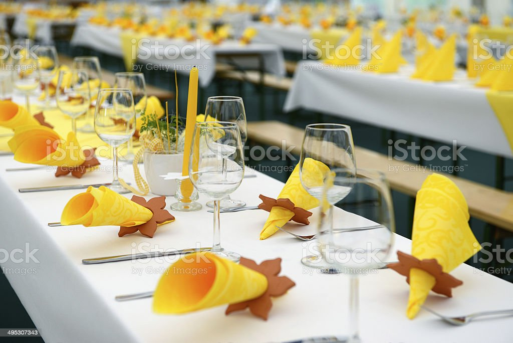 Festively decorated Dining Tables royalty-free stock photo