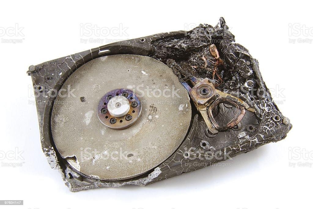 Festplatte verbrannt - Harddisk burned stock photo