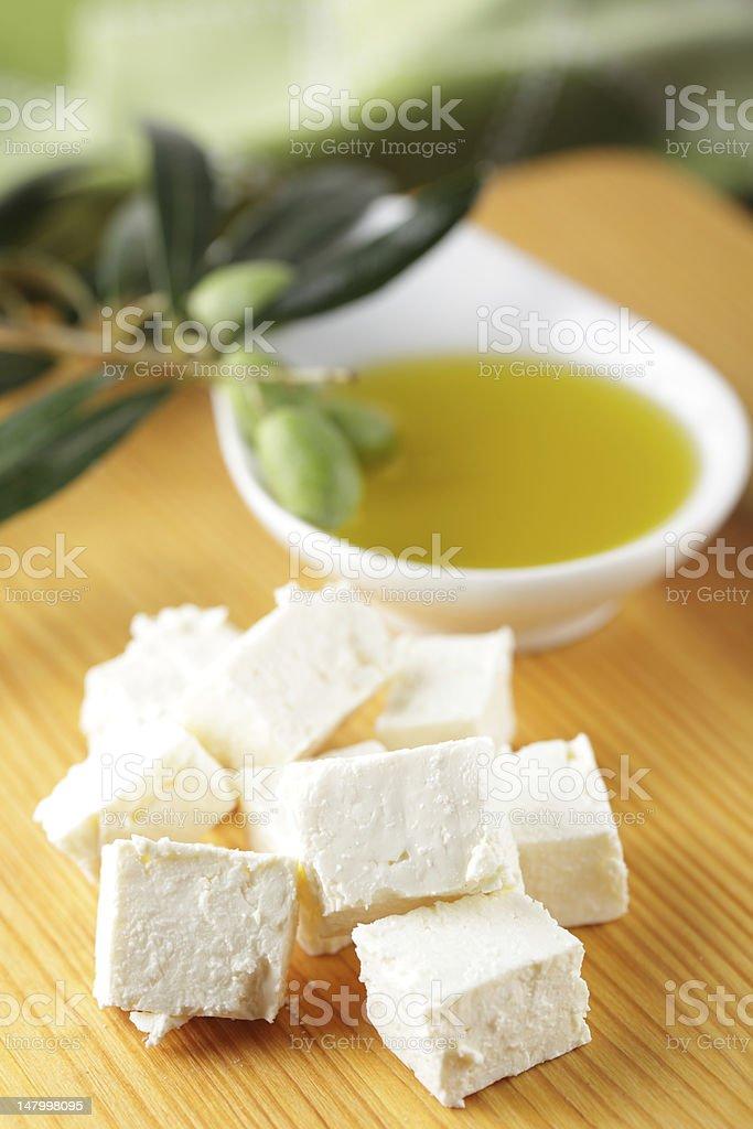 Feta and olive oil stock photo