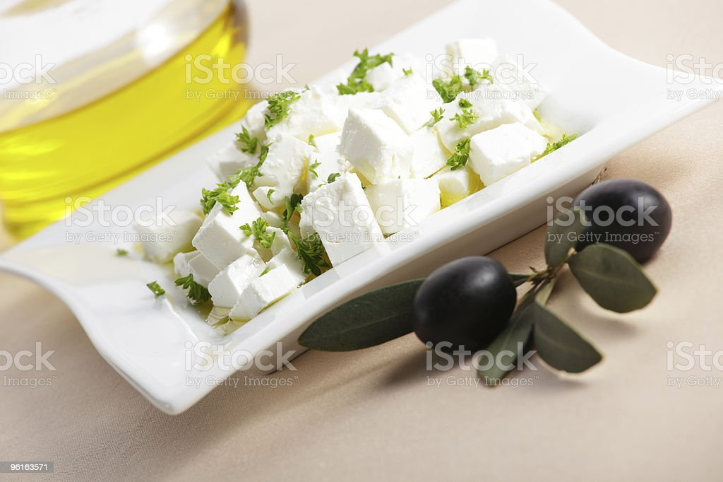 Feta cheese and olives royalty-free stock photo