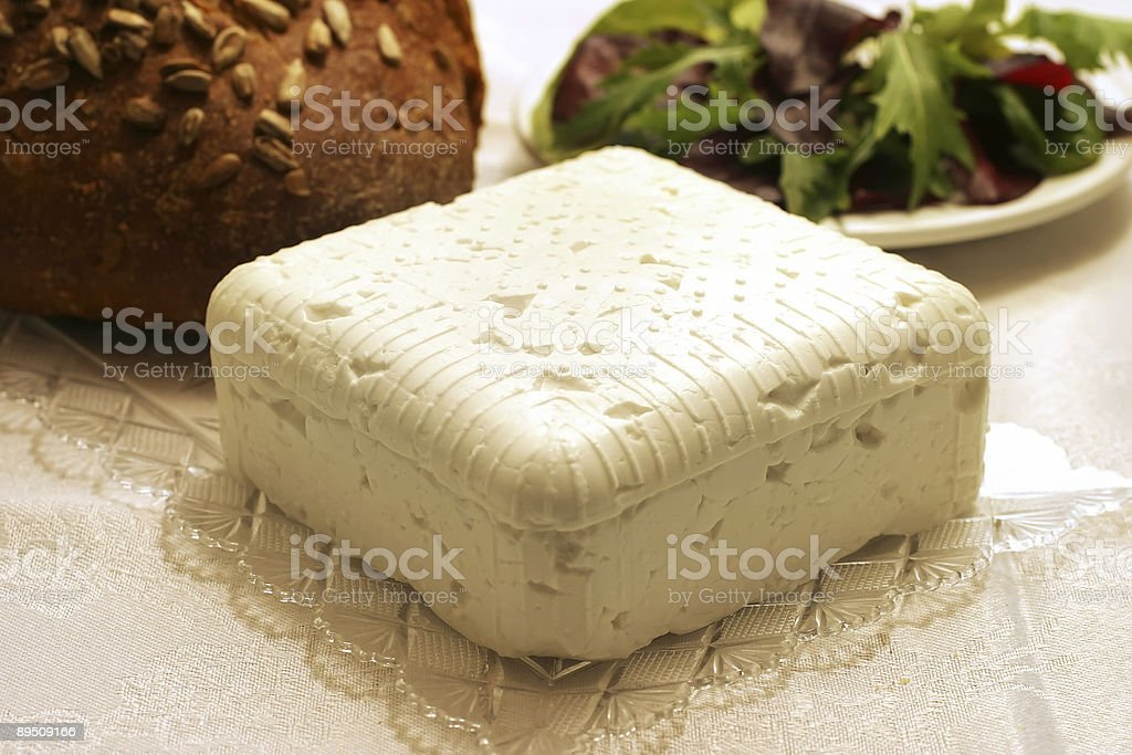 feta cheese cube with bread and salad royalty-free stock photo