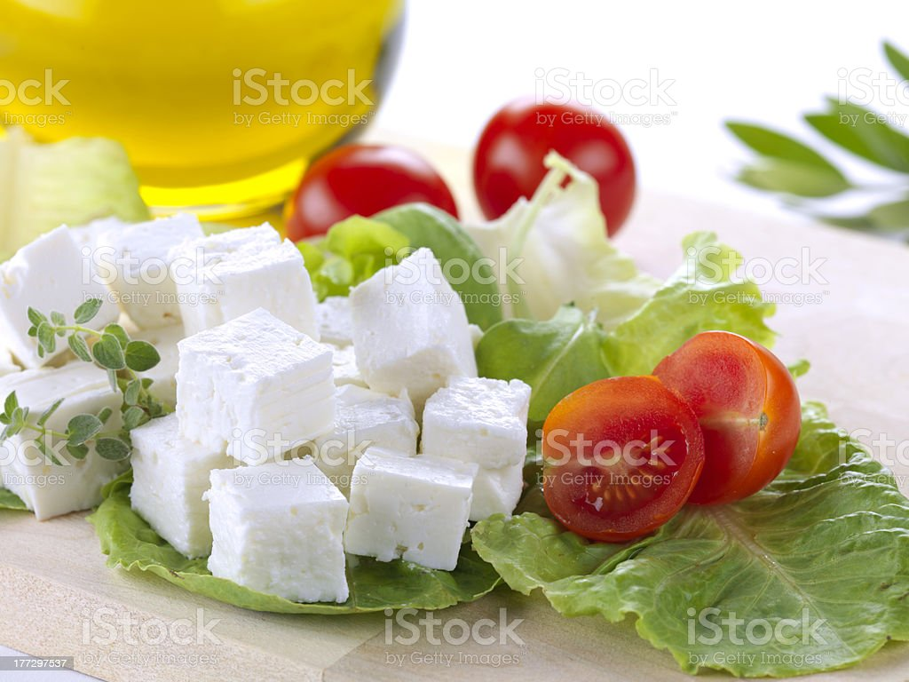 feta cheese cut in cubes royalty-free stock photo