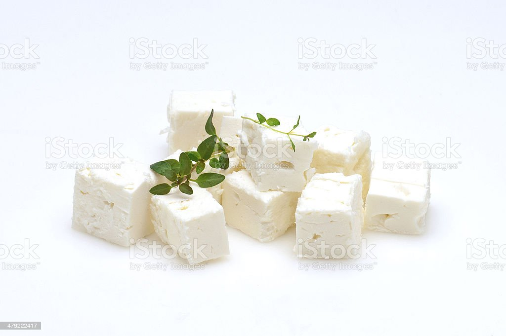 feta cubes stock photo