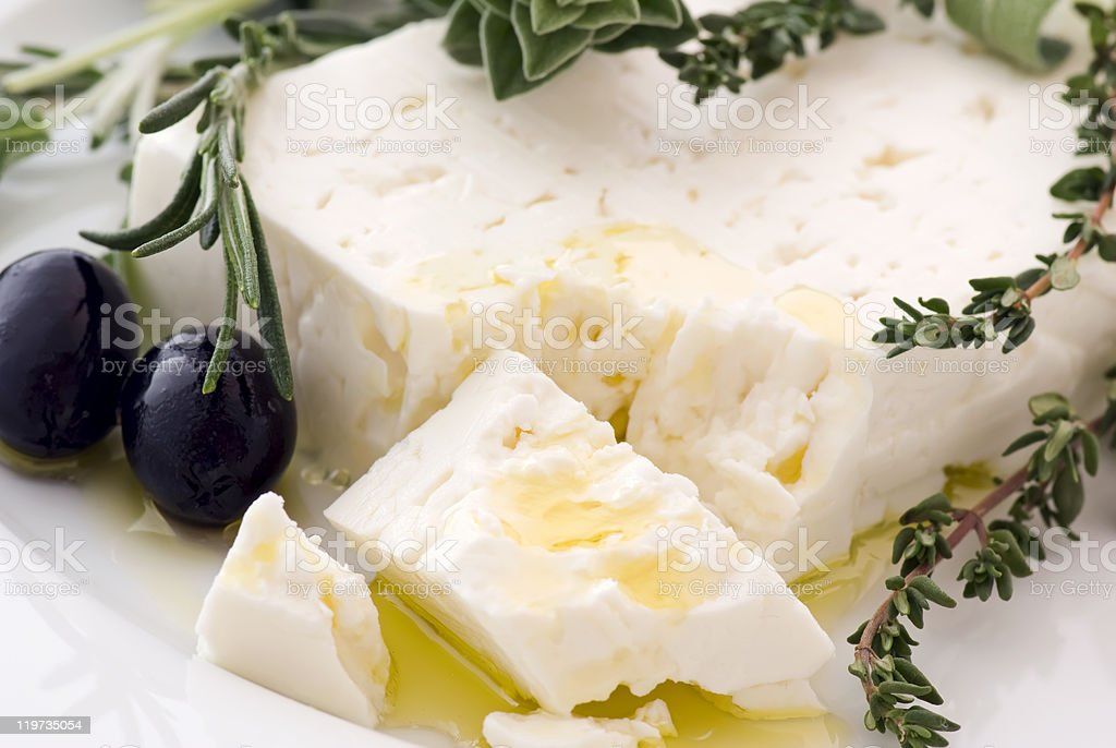 Feta with Olives stock photo