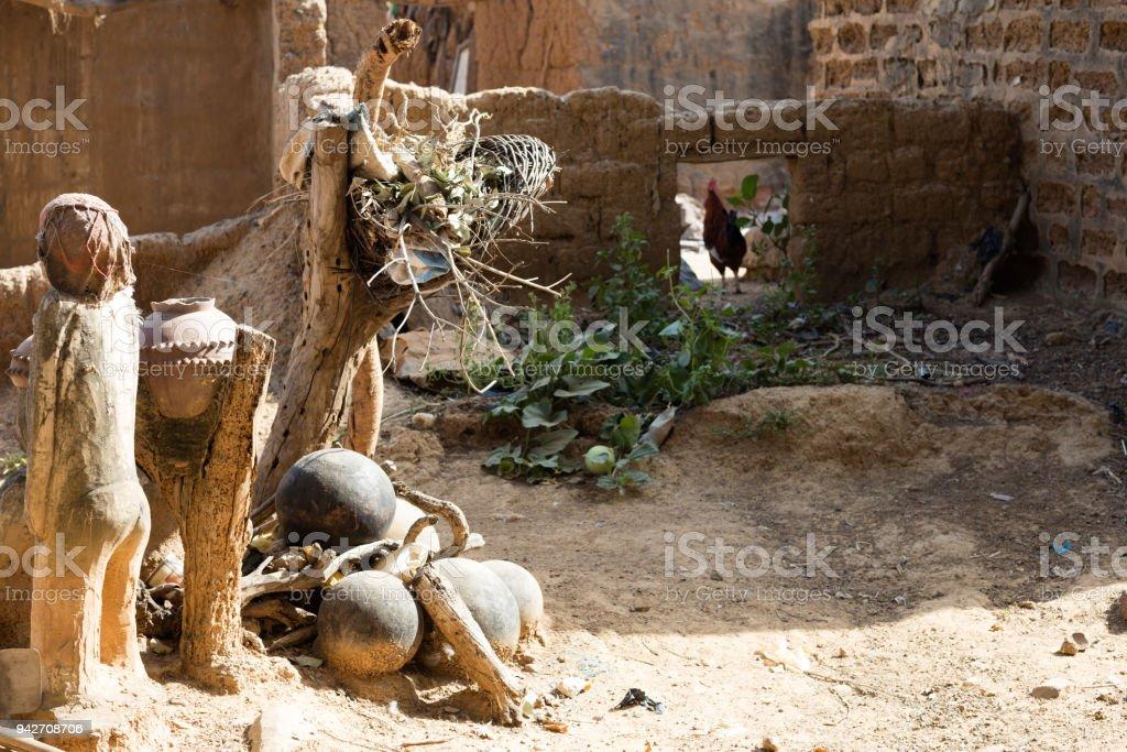 fetish in Lobi village, Burkina faso stock photo