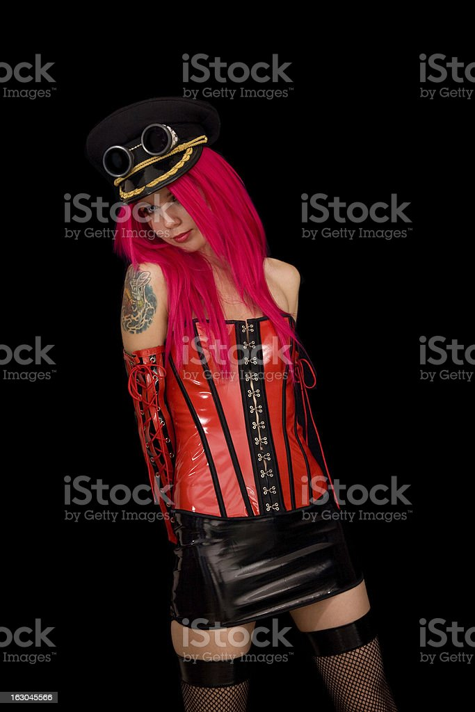 Fetish model in sexy vinyl outfit royalty-free stock photo