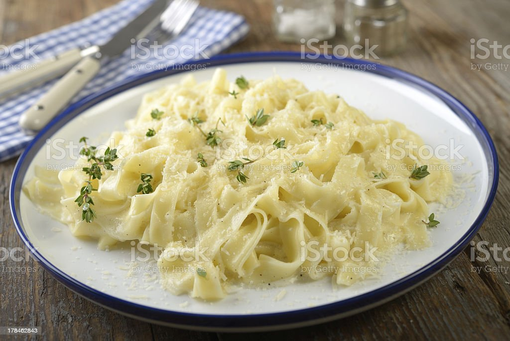 Fettuccine Alfredo royalty-free stock photo