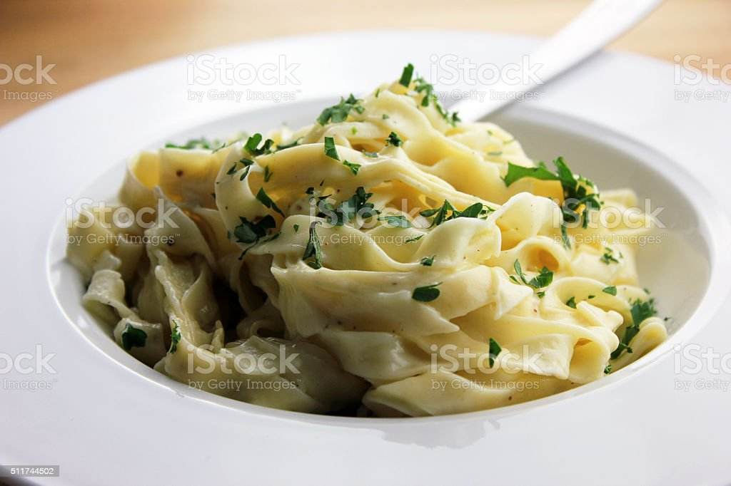 Fettuccine Alfredo stock photo