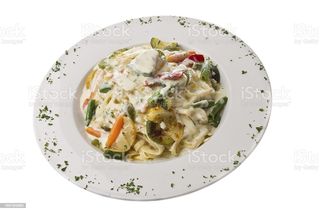 Fettuccine Alfredo with Vegetables royalty-free stock photo