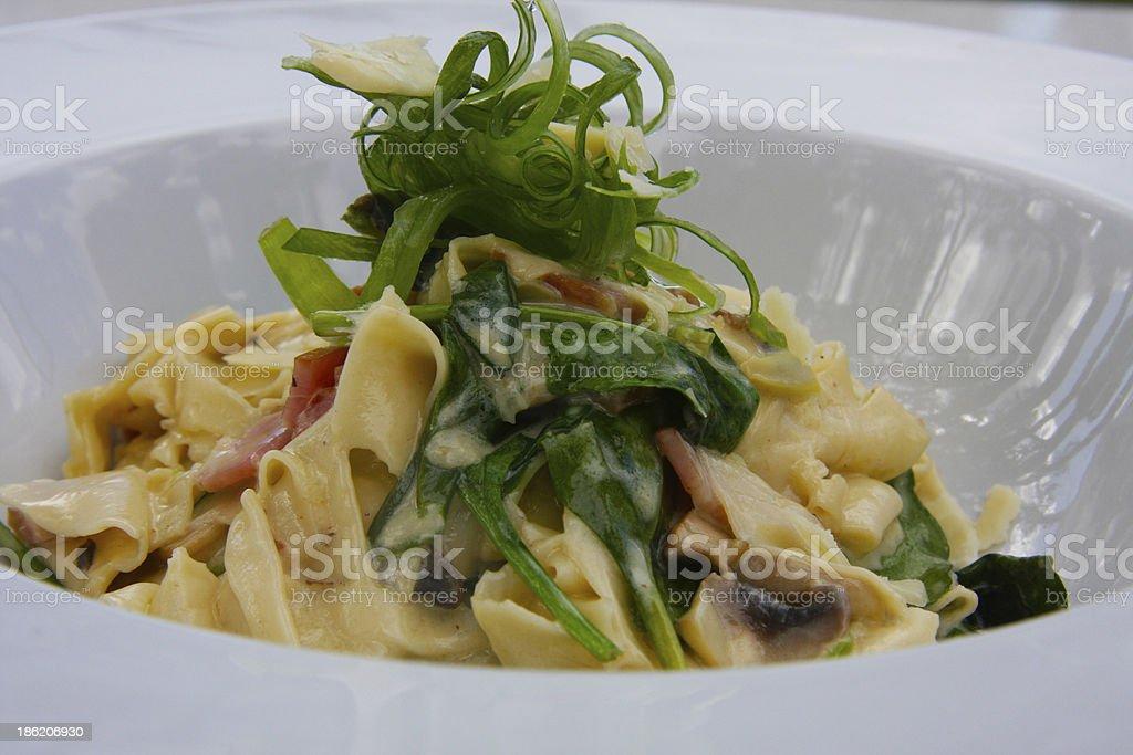 Fettuccine Carbonara stock photo