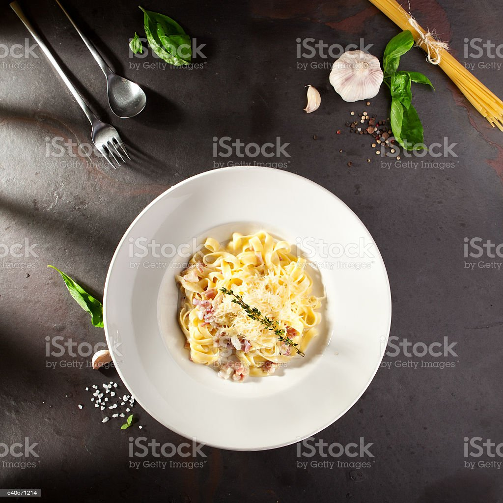 Fettuccine Carbonara with Parmesan stock photo