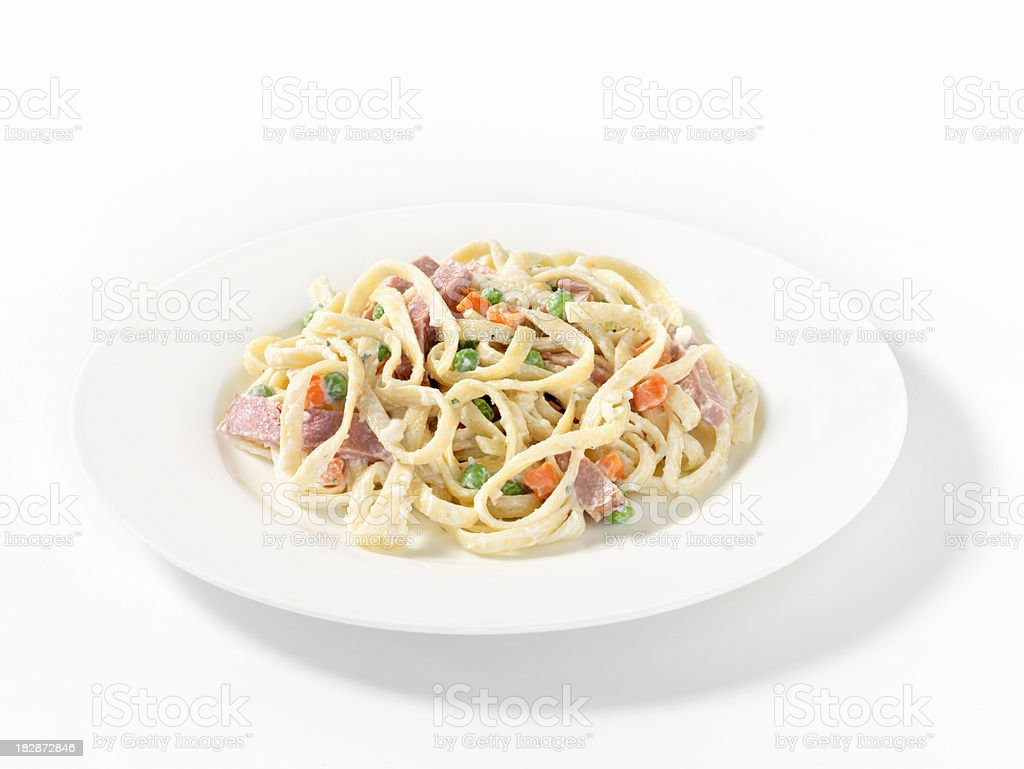 Fettuccine in a Cream Sauce with Ham royalty-free stock photo