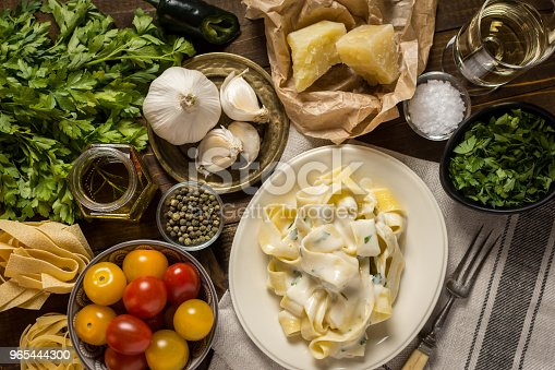 Fettuccine Pasta Plate With Creamy Alfredo Sauce Stock Photo & More Pictures of Basil