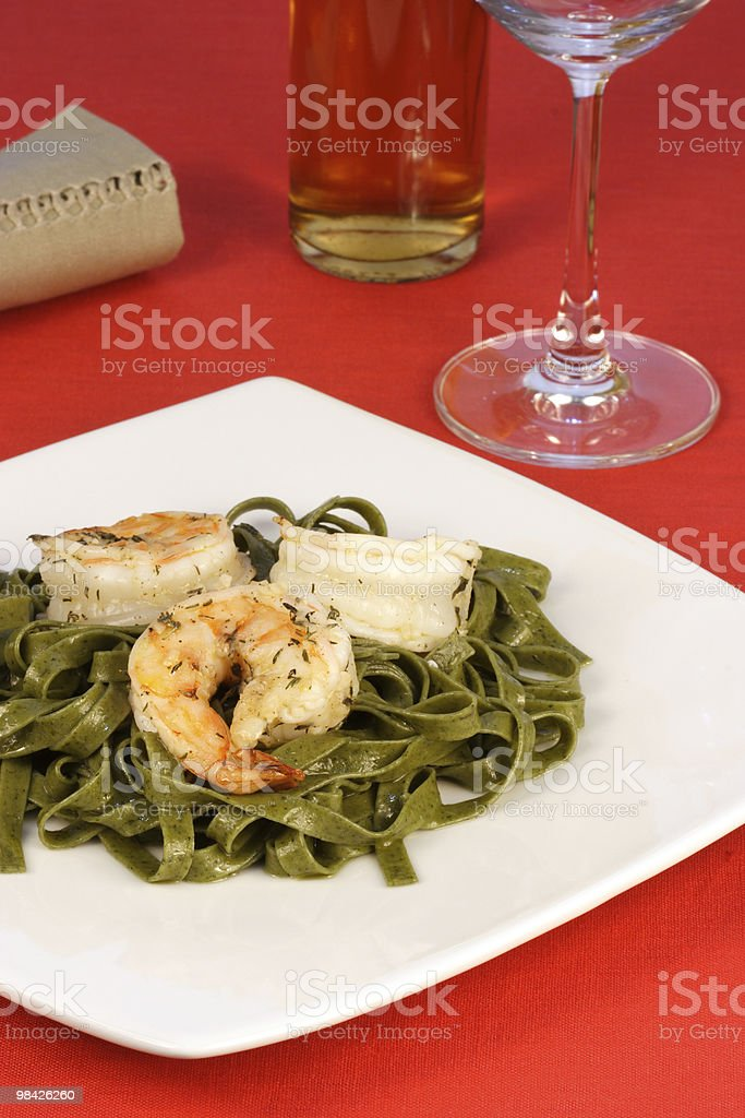 fettuccine pasta with prawns royalty-free stock photo